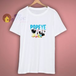 Popeye Vintage Distressed Group With Logo T shirt