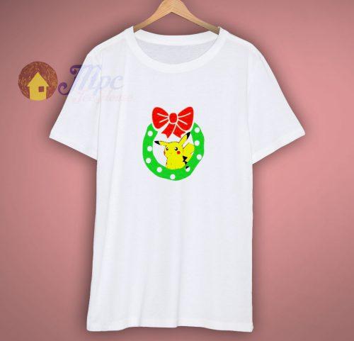 Christmas Pikachu with Wreath T shirt
