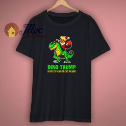 Dino Trump Make X Mas Great Again Black T Shirt