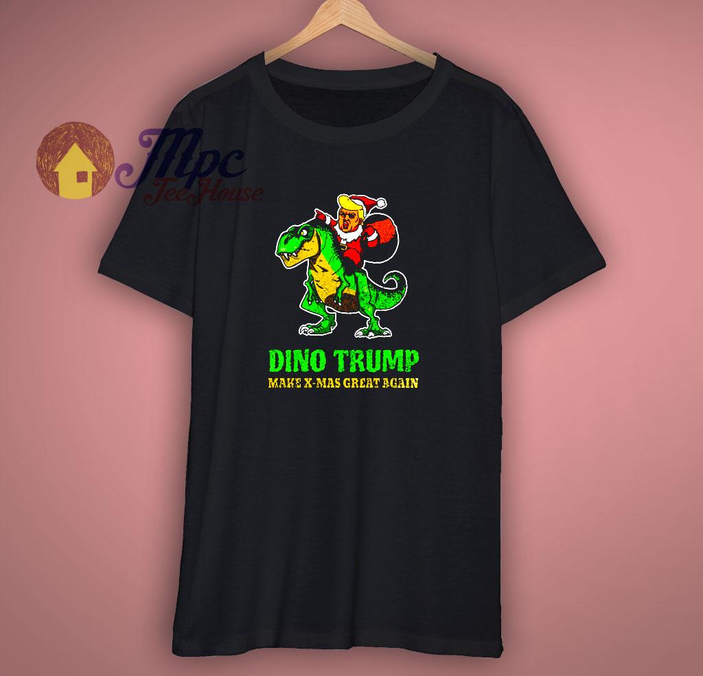 Dino Trump Make X Mas Great Again Black T Shirt