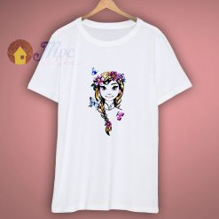 Disney Frozen Anna Illustrated Boho Flowers Graphic T Shirt