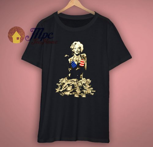 Funny Graphic T Shirt Marilyn Monroe Money Printed