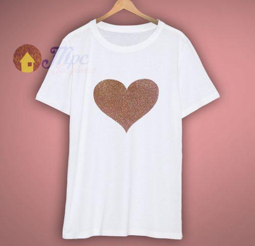 Girls Glitter Love Heart White or Black T Shirt