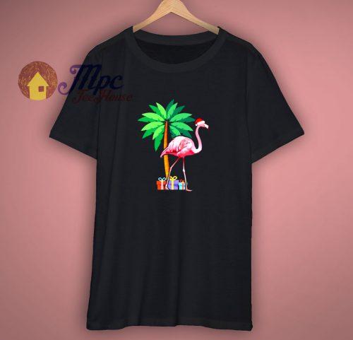 Holiday Flamingo Santa Gift T Shirt