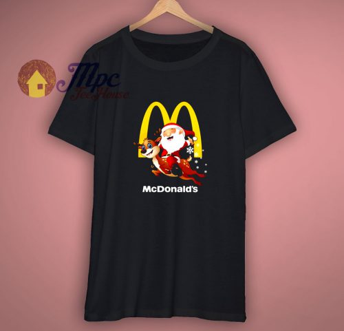 Santa Claus riding Reindeer Mcdonalds Christmas shirt