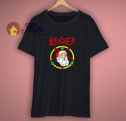 Sleigher Santa Metal Rock Music Christmas Pentagram T Shir