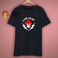 THE FLASH LIVE FAST T SHIRT speckled black dc comic