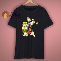 Vintage 90s Flintstones Fred Barney Dino 1993 Woodstock Double Sided T Shirt