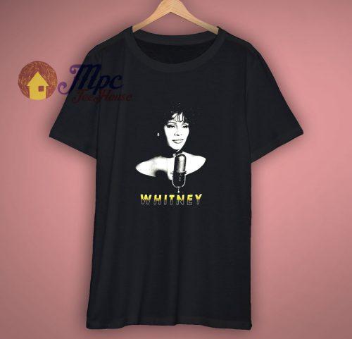 Whitney Houston Mens Microphone T Shirt Black