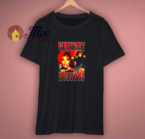 Whitney Houston Official 90s Red Retro Homage T Shirt