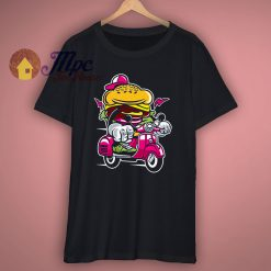 Burger Scooter Cartoon Design T Shirt