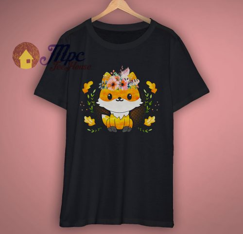 Cute Watercolor Fox with Floral T Shirt