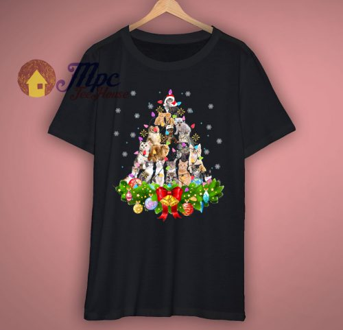 Funny Cat Christmas Tree T Shirt