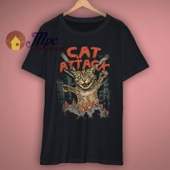 Giant Cat Attack Funny T Shirt