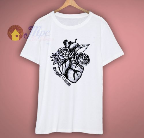 My Heart Is Vegan Cute T Shirt