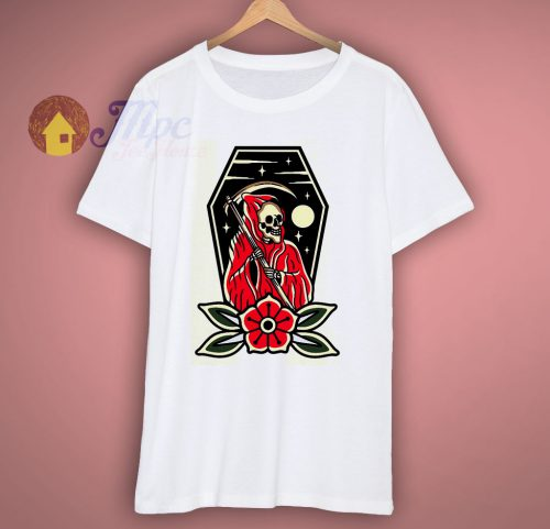 Reaper and Rose Skull Halloween T Shirt