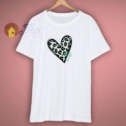 Green Leopard Print Heart T Shirt
