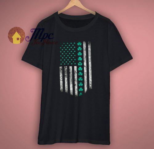 St Patricks Day USA Flag Shamrock Clover T Shirt