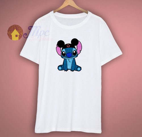 Stitch Mickey Hat Glitter T Shirt