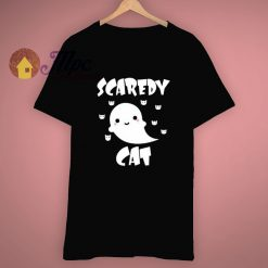 Cute Ghost Cartoon Scaredy Cat T Shirt