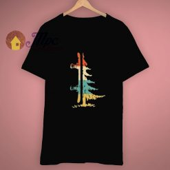 Snowboard Pine Tree Vintage Gift T Shirt