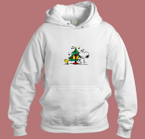 Snoopy And Woodstock Christmas Tree The Peanuts Movie Aesthetic Hoodie Style
