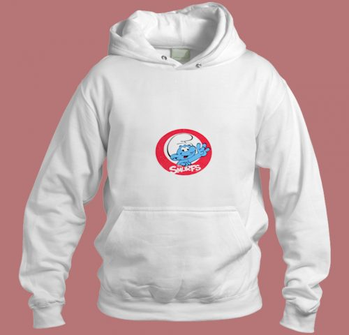 The Smurfs Smiling Circle Logo Image Aesthetic Hoodie Style