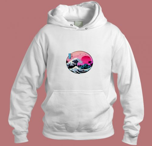 Tsunami Synthwave Vapor Wave Japan Japanese 80s Electronic Aesthetic Hoodie Style