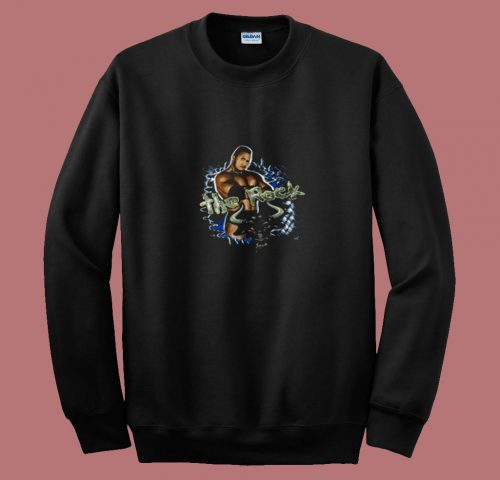 Vintage Wwe 1999 Authentic The Rock 80s Sweatshirt