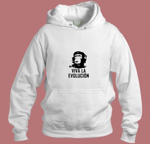 Viva La Evolucion Funny Evolution Che Guevara Monkey Aesthetic Hoodie Style