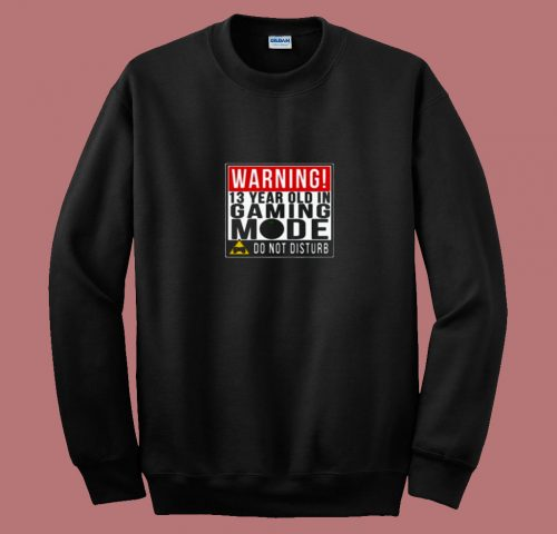 Warning 13 Year Old In Gaming Mode Teenager 80s Sweatshirt