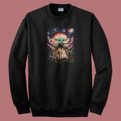 Baby Yoda Starry Night 80s Sweatshirt